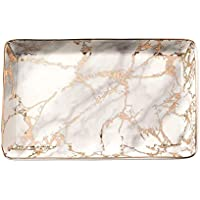 BESTSELLER2888 Ceramic Ring Jewelry Holder Decor Dish Organizer Jewelry Plate Jewelry Tray (Marble-Light Grey), Ceramic, Gold- L Size, Large Size