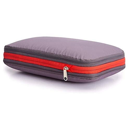 圧縮バッグ旅行ファスナー ZAKALE 衣類スペース50%節約 トラベルポーチ 軽量 出張 便利グッズ 衣類仕分け (グレー)
