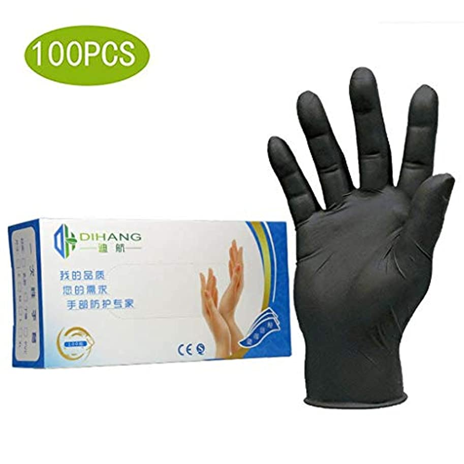 100倍使い捨て手袋耐酸性および耐アルカリ性試験軽量安全フィットニトリル手袋中粉末フリーラテックスフリータトゥー理髪産業加工労働保険 (Size : M)