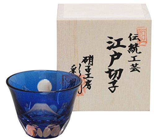 江戸切子 彩鳳 ぐい呑み (木箱入) 富士桜文様 MI-50-BP