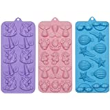 Webake Candy Molds Silicone Mermaid Chocolate Gummy Mold, Fondant Molds for Baking Cake Decorations, Resin Crayon Including Unicorn, Mermaid Tail, Seahorse, Rainbow, Air Balloon, Pack of 3