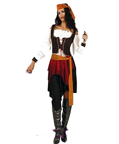 カリブ 海賊 コスプレ衣装 7点セット パイレーツ オブ カリビアン ハロウィン フェイスペイント (レディース)