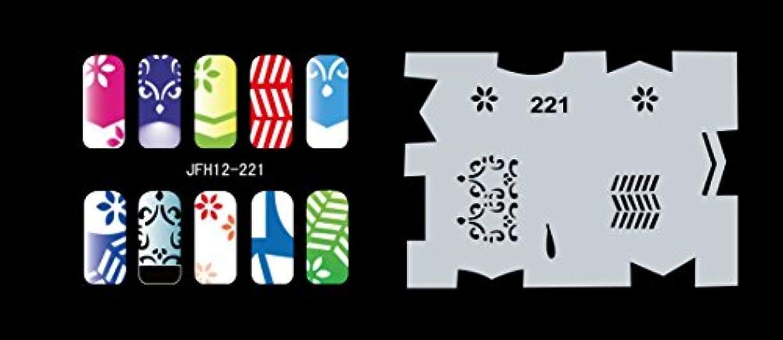 対処弾力性のある推定Buyter マニキュアステンシルツールdiyデザインエアブラシ20ピース再利用可能なテンプレートシート用エアブラシキットネイルアートペイントセット (Set 12(221-240))