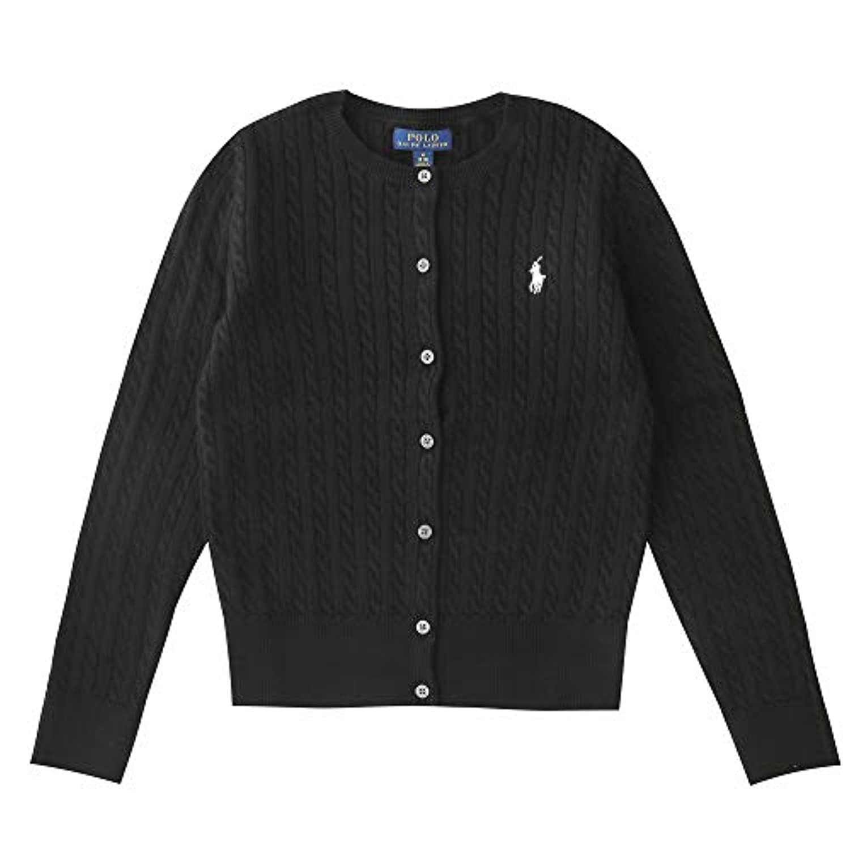 ポロ ラルフローレン キッズ レディース ケーブルニット カーディガン Cotton tops sweater (サイズ:S カラー:POLO BLACK) 女の子 子供服 Polo Ralph Lauren [並行輸入品]