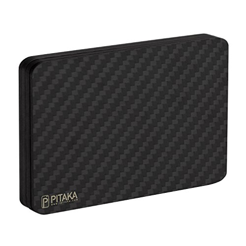 「PITAKA」カードケース カーボンファイバー ミニマリスト スキミング防止 モジュラー 薄形 カード収納ファッションウォレット ICカード対応 永久保証 (黒/灰 ツイル柄)