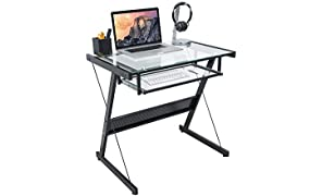 Activiva Brea Series Office Computer Desk in Tempered & Steel Glass Keyboard Tray Study Home