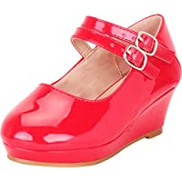 Cambridge Select Girls' Round Toe Two-Strap Mary Jane Platform Low Wedge (Toddler/Little Kid/Big Kid)