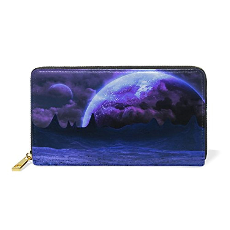 AOMOKI 長財布 財布 ラウンドファスナー 本革 大容量 通学 通勤 旅行 夜空 月
