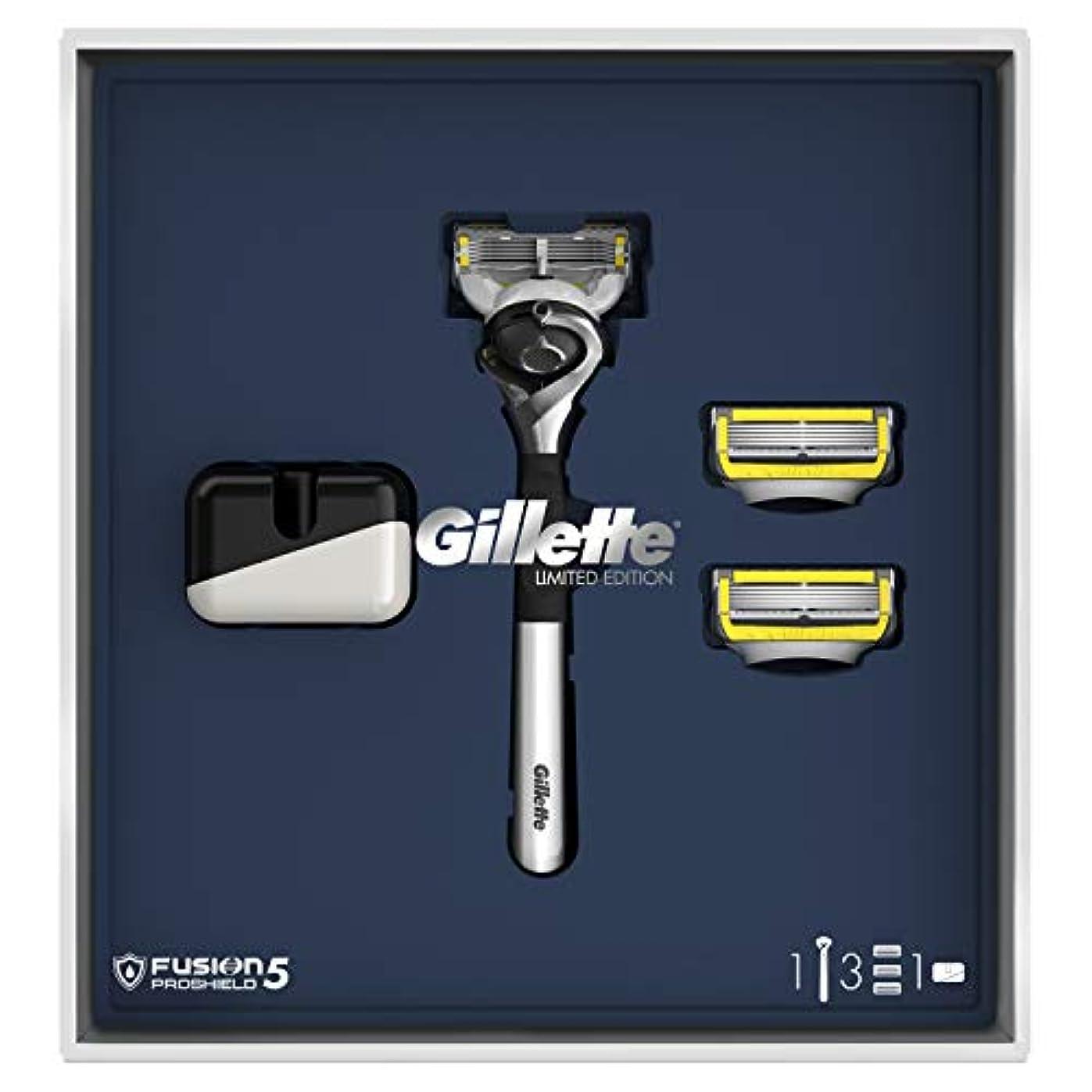 注ぎます異常な注釈を付けるジレット プロシールド 髭剃り本体+替刃3個 オリジナルスタンド付 スペシャルパッケージ