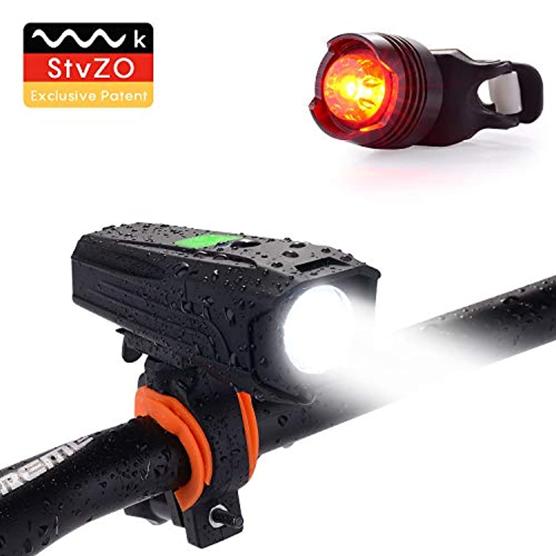 黙認するピルファーシーサイドUlikey USB充電式自転車ライトセット、自転車ライトセット、LEDヘッドライトテールライトコンビネーション防水、スーパーブライト、LEDヘッドライト、テールライトイージーインストール