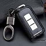 Carbon Fiber Pattern Silicone Car Key Case Cover Holder for Mitsubishi Lancer EX Evolution Outlander ASX Keychain Remote Shell Color Name with Braided Buckle