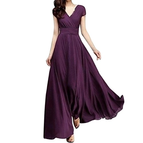 Yochyan 女性ドレス ワンピース 無地 Yネック 紫 ...