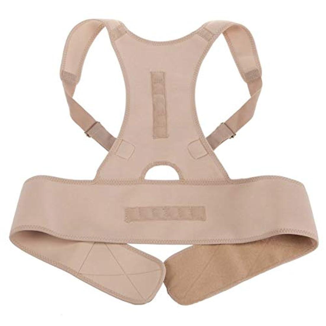 おとなしい邪魔コショウネオプレン磁気姿勢補正機能バッドバックランバーショルダーサポート腰痛ブレースバンドベルトユニセックス快適な着用 - 肌の色L/XL