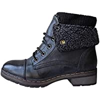 Tooling Knight Ankle Short Boots for Women Non Slippery Women's Lace-Up Vintage Black Elegant Almond Shaped Toe, FULLSUNNY