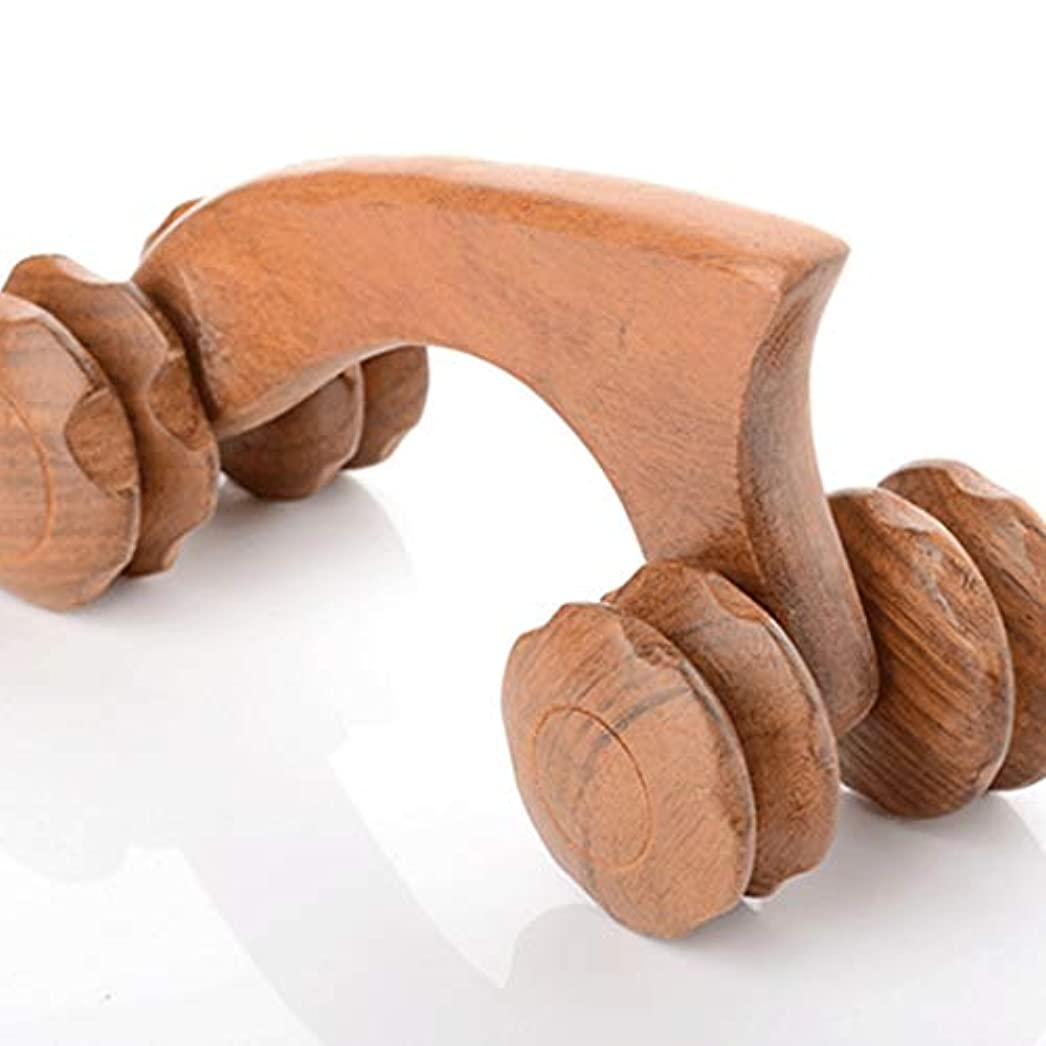 かもめカートリッジわかる手動マッサージホイールマッサージャー木製マッサージャーナイフ型四輪マッサージ木製マッサージプッシュホイール純粋な手のプッシュ