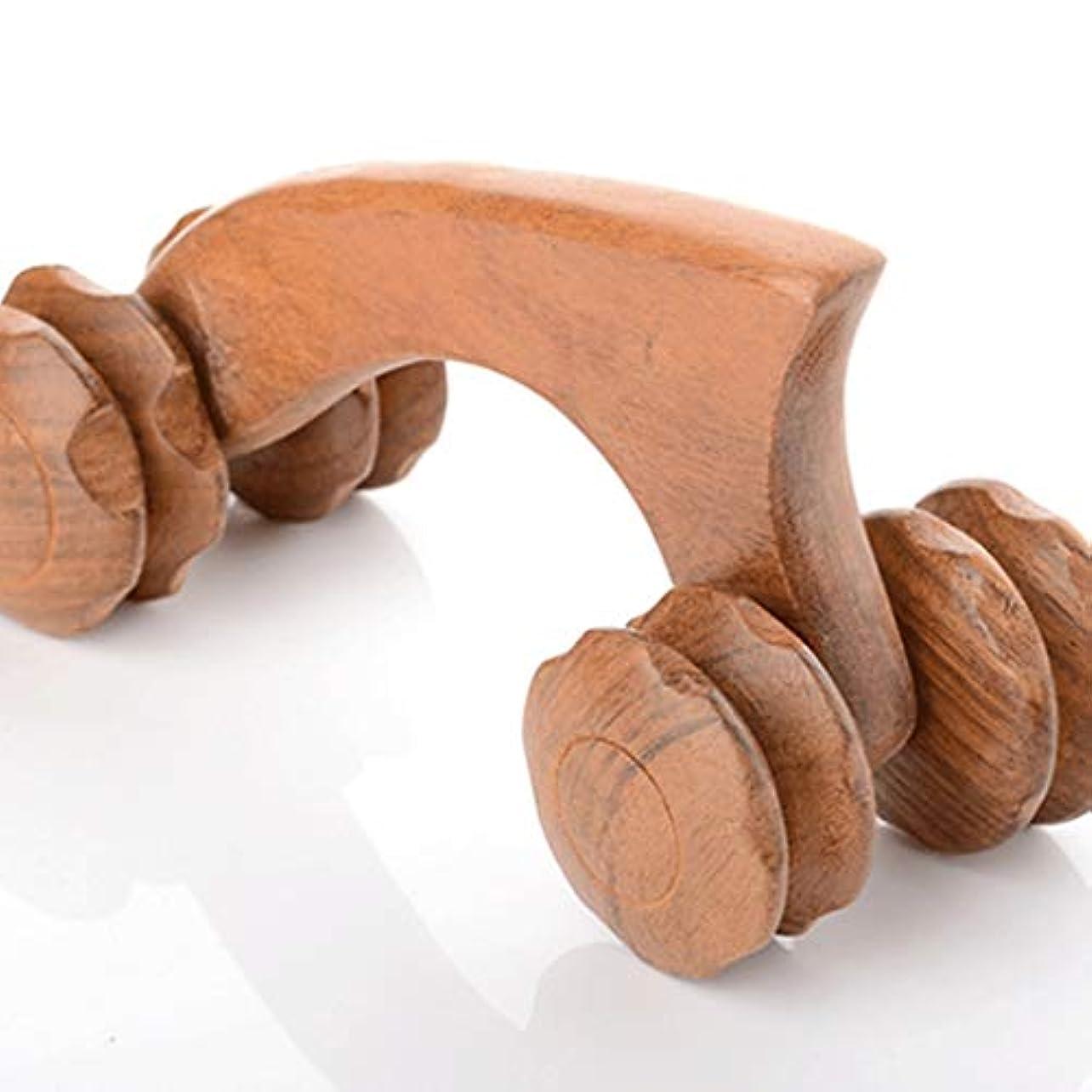 位置づけるジョットディボンドンきらめく手動マッサージホイールマッサージャー木製マッサージャーナイフ型四輪マッサージ木製マッサージプッシュホイール純粋な手のプッシュ