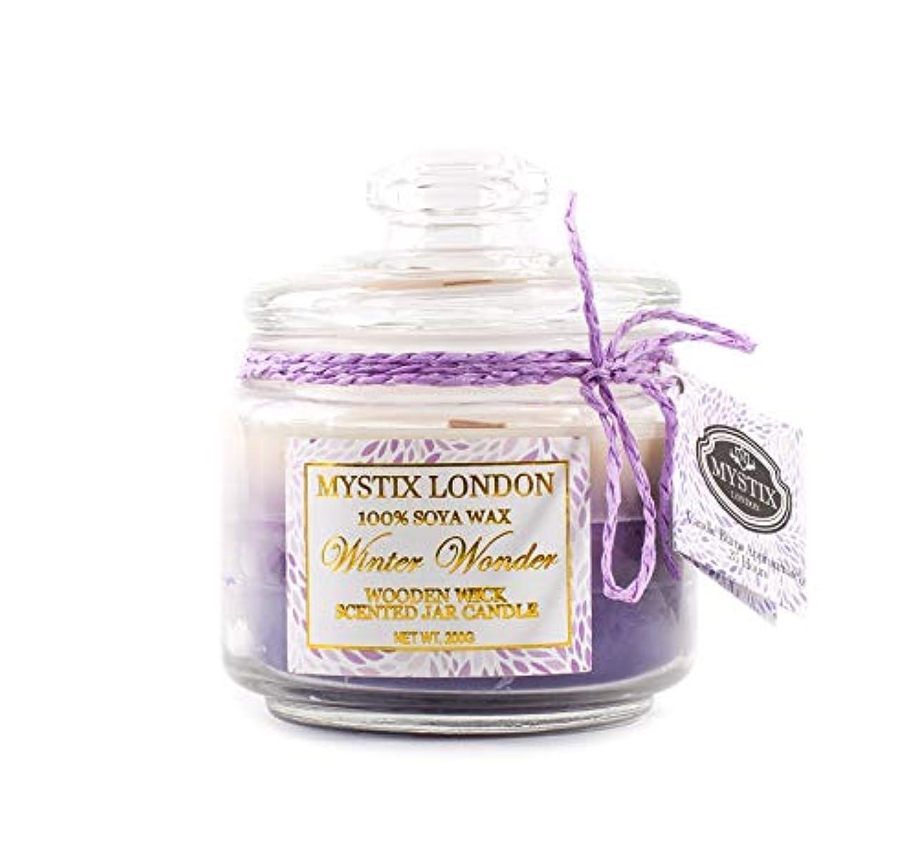 組み込む普通のあいまいさMystix London | Winter Wonder Wooden Wick Scented Jar Candle 200g