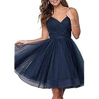 JONLYC Spaghetti Straps V Neck Glitter Tulle Homecoming Dresses Backless