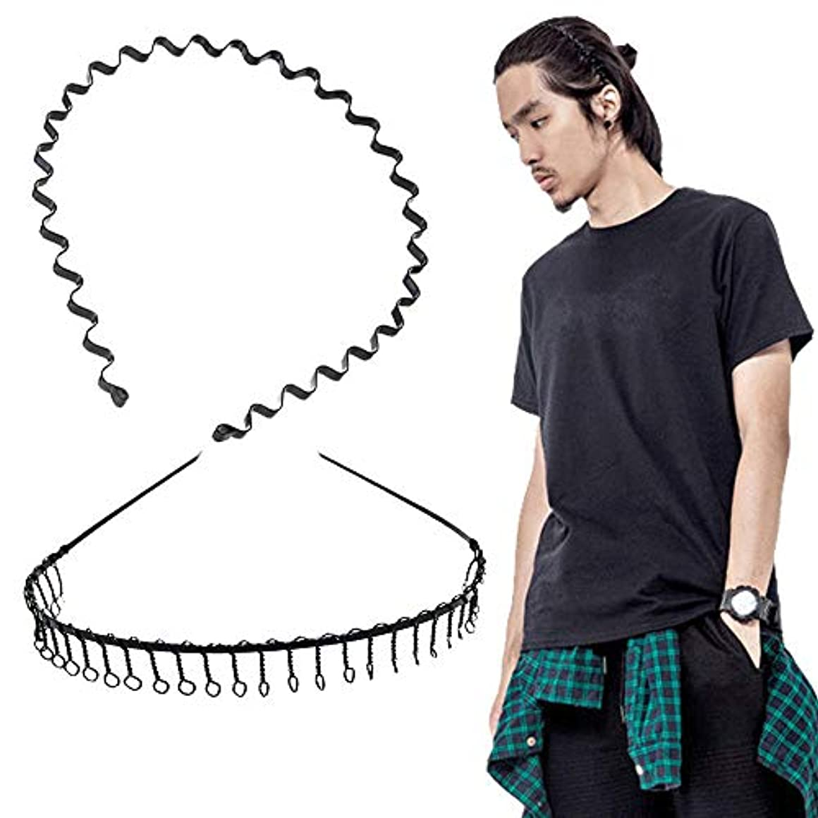 繕う報復衰えるshefun メンズ カチューシャ スプリング ヘアバンド 鉄 波型 くし付き 滑り止め 痛くない 黒 シンプル 前髪 髪飾り 2本セット JP159
