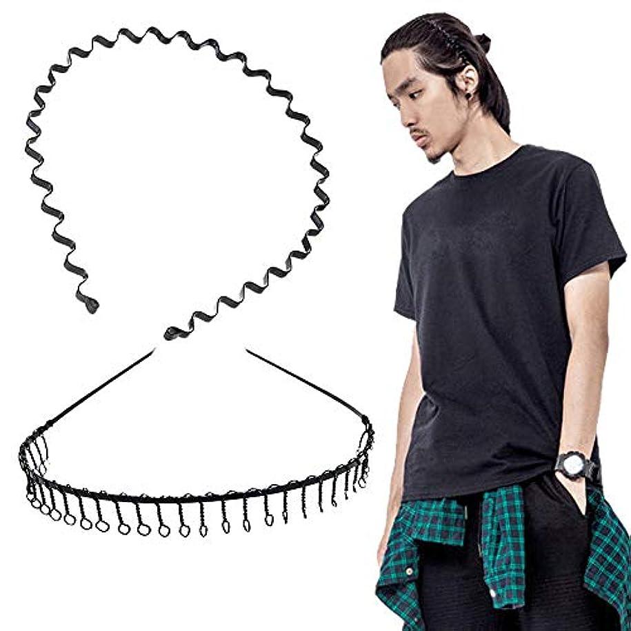 水没致死水没shefun メンズ カチューシャ スプリング ヘアバンド 鉄 波型 くし付き 滑り止め 痛くない 黒 シンプル 前髪 髪飾り 2本セット JP159