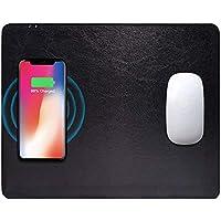 iPhone X/XS /XR/XS Max /8 Plus /8 Samsung S7 /S8 /S9/S9+/Note 8など ワイヤレス充電マウスパッド Qi対応機種 無線充電器 + マウスパッドの合体 おしゃれ 高級PUレザー 滑り止め 多機能マウスパッド 便利なマウスパッド一体型 光学式マウス対応パット デスクトップは非常にきれいです(ブラック)