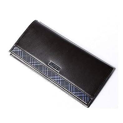 バーバリー ブラックレーベル 財布 かぶせ長財布 牛革×ポリエステル BURBERRY BLACK LABEL (ダークブラウン)