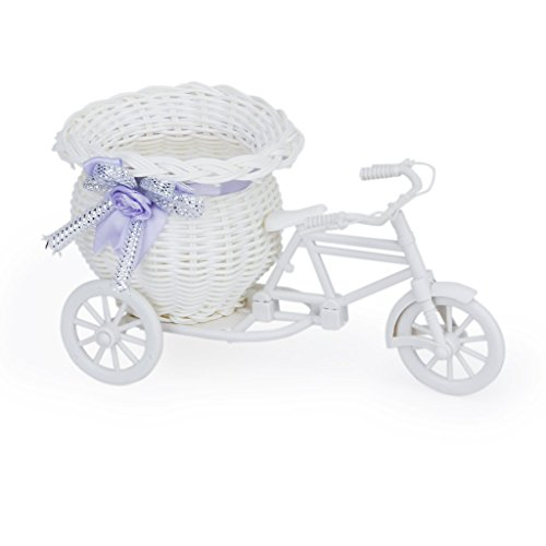 飾り、SODIAL(R) 手編み三輪車形の花かご/部屋飾り(...