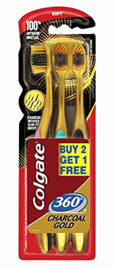 恵み放映部族Colgate 360 Charcoal gold (Soft) Toothbrush (3pc pack)