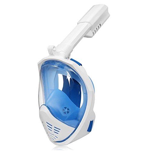 フルフェイス シュノーケルマスク 180°のワイドな視界 アンチフォグ設計 アクションカム取付可能 鼻でも口でも呼吸可能 男女兼用 子供用にも (ブルー, S/M)