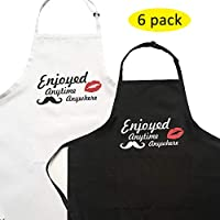 "Hi loyaya 12 Pcs Bulk Plain Color Kitchen Apron with 2 Pockets, Painting Party Restaurant BBQ Cooking Bib Aprons for Women Men Adults Chef, 100% Polyester, Enjoy, 31.5x27.56"""
