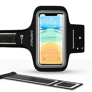 ランニングアームバンド スポーツ スマホ アームバンド PORTHOLIC 指紋識別対応 防汗 軽量 小物収納&調節可能 男女兼用 iPhone 11/11Pro/11Pro Max/XR/Xs Max/8/7/6S/6 Plus Xperia、Samsung、Huawei、Androidなど 6インチまでのスマホに対応 終生保証