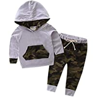 Long Sleeve Warm Cool Camouflage Outfits, 0-2 Years Old Baby Boy Toddler Tracksuit Hooded Top+Pants Hat 3Pcs Clothes Set (Color : Gray, Size : 6-12 Months)