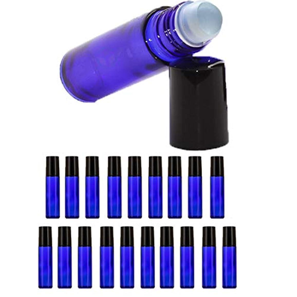 高尚なダンプのれん【Nanmara】ロールオンボトル 10ml 20個セット 遮光瓶 小分け ガラスボトル 詰め替え 容器 エッセンシャルオイル 遮光ビン 青色 ブルー (20個セット)