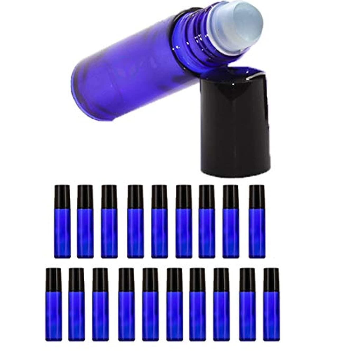 エリートさておき無【Nanmara】ロールオンボトル 10ml 20個セット 遮光瓶 小分け ガラスボトル 詰め替え 容器 エッセンシャルオイル 遮光ビン 青色 ブルー (20個セット)