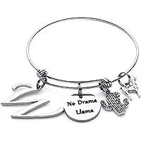 M MOOHAM Llama Gifts Initial Bracelet for Women - No Drama Llama Expandable Charm Bracelet Llama Jewelry for Women Girls, Llama Lover
