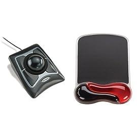 ケンジントン 【正規品・5年保証付き 】 ExpertMouse(OpticalBlack)(USB/PS2) 64325 + Kensington GEL Waveマウスパッド(レッド) K62402JP セット