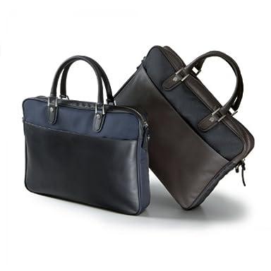 Polyester Horsehide Briefcase: Navy, Black