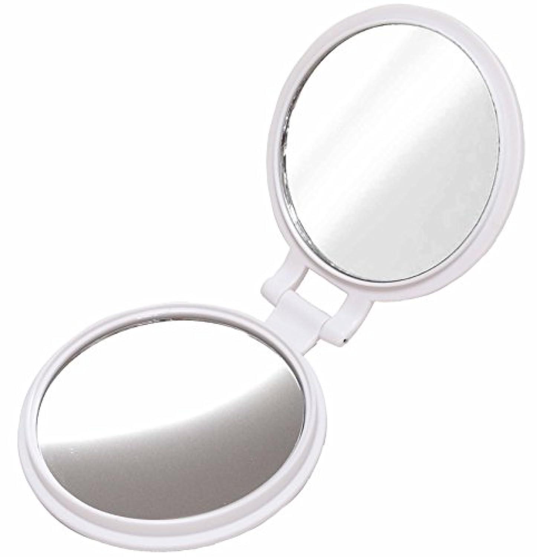 10倍 拡大鏡 付き 折りたたみ 両面コンパクト ハンド ミラー 手鏡 PREMIUM ホワイト