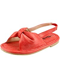 Comfy Soft Material Baby Girl's Summer Open Toe Sandal Shoes Toddler Size (7, Red) by dollmaker