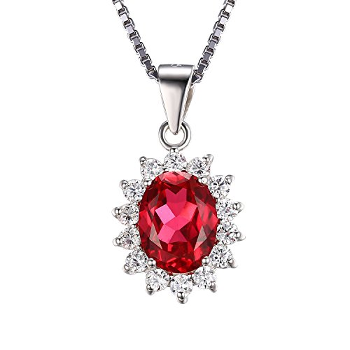 JewelryPalace Kate Diana(ダイアナ) プリンセス デザイン 2月 誕生石 人工 ルビー ネックレス ペンダント シルバー 925 チェーン 45cm