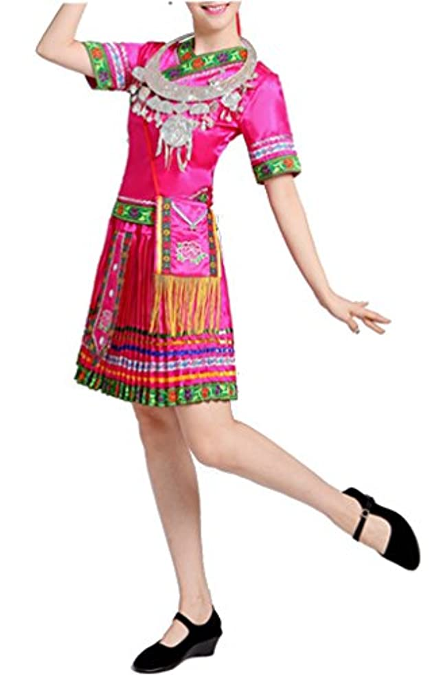 提案こどもの宮殿思春期Youchan(ヨウチャン) ミャオ族 モン族 民族衣装 森ガール アジカジ エスニック アセアン ワンピース (S,ピンク)