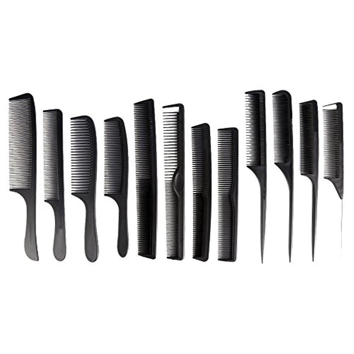 属性ギャザー濃度カットコーム 散髪用コーム コームセット12点セット プロ用ヘアコーム  静電気減少 軽量 サロン/美容室/床屋など適用