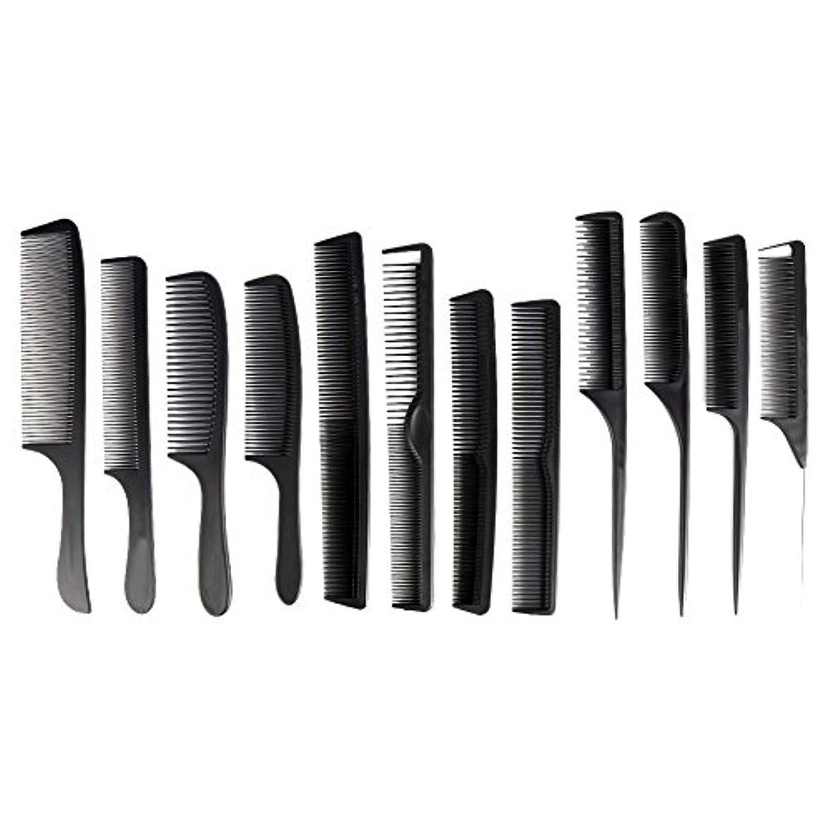 カウント再開極地カットコーム 散髪用コーム コームセット12点セット プロ用ヘアコーム  静電気減少 軽量 サロン/美容室/床屋など適用
