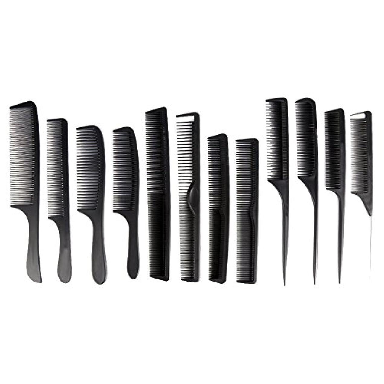 菊フェザーアジアカットコーム 散髪用コーム コームセット12点セット プロ用ヘアコーム  静電気減少 軽量 サロン/美容室/床屋など適用