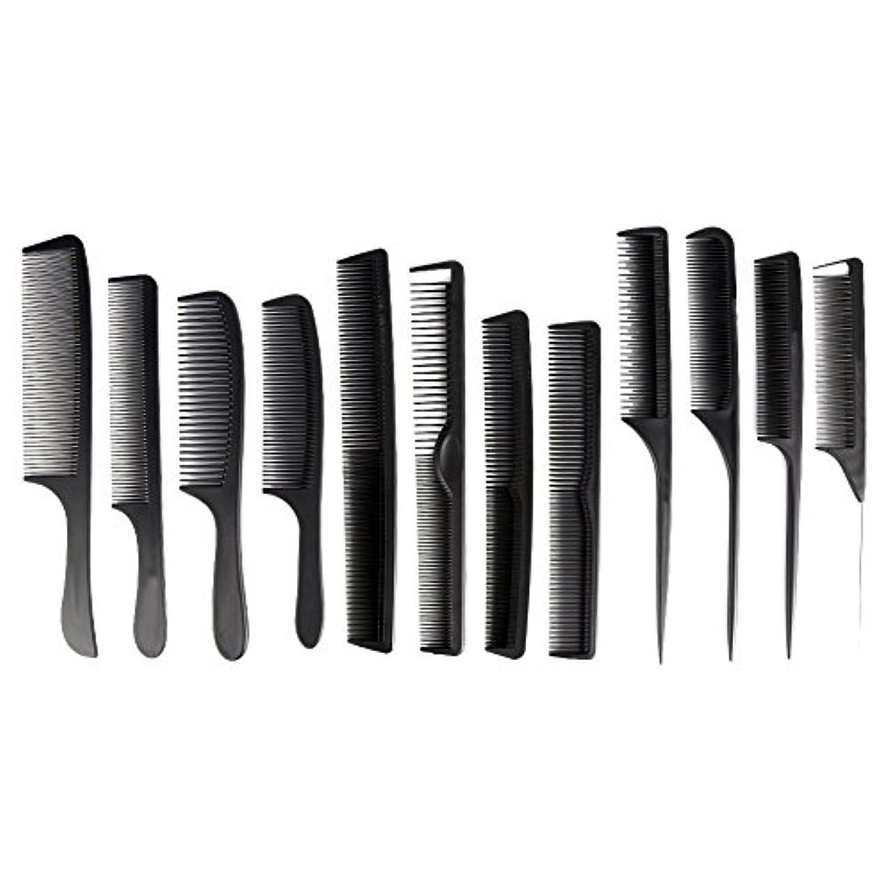 間に合わせ次すきカットコーム 散髪用コーム コームセット12点セット プロ用ヘアコーム  静電気減少 軽量 サロン/美容室/床屋など適用