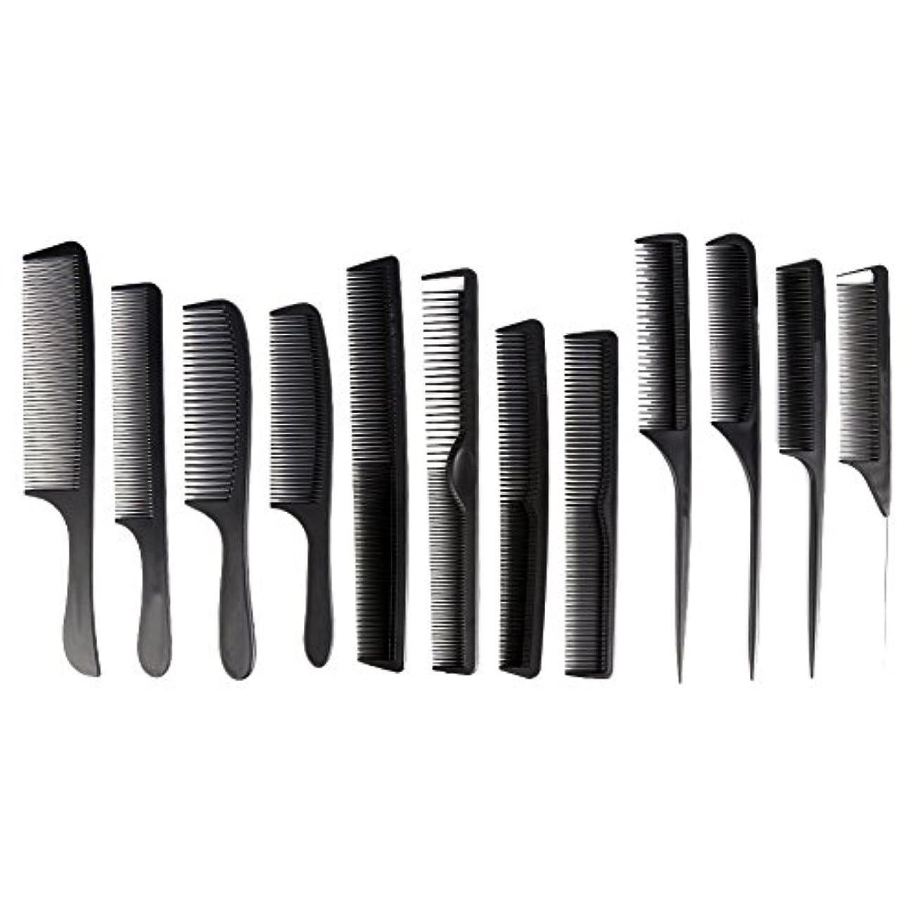 仕えるの前で忌避剤カットコーム 散髪用コーム コームセット12点セット プロ用ヘアコーム  静電気減少 軽量 サロン/美容室/床屋など適用