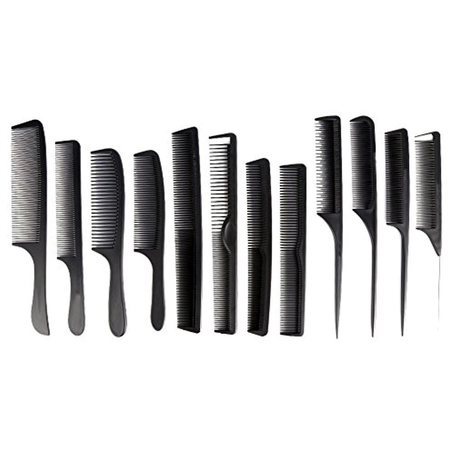 雨きらめく建設カットコーム 散髪用コーム コームセット12点セット プロ用ヘアコーム  静電気減少 軽量 サロン/美容室/床屋など適用