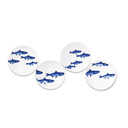 Caskata学校の魚ブルーDipping Dishes、4のセット