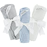 Swaddle Blankets Cotton Muslin Soft for Kids - Bundle of 3 (Gray, Blue, Natural) by Baby Laundry