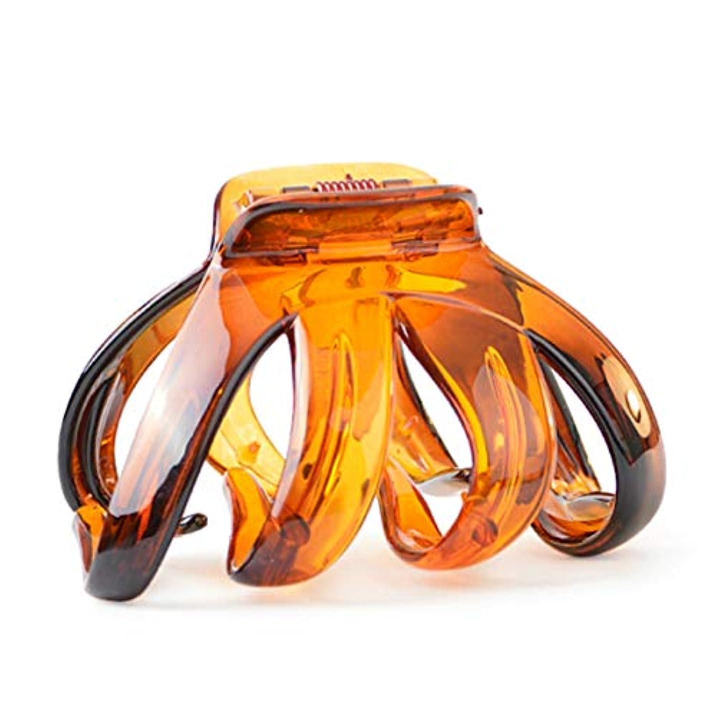 修正する柔らかい病気のヘアクリップ、ヘアピン、ヘアグリップ、ヘアグリップ、ヘアピングリッパー気質カラーアクリル8本爪クロークリップ入浴ヘアヘアキャッチ人気のキャッチカードヘアアクセサリーA0939アンバー、ブラック (Color : Amber...